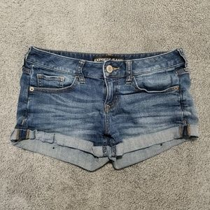 Express Denim Jean Shorts Cuffed Hem